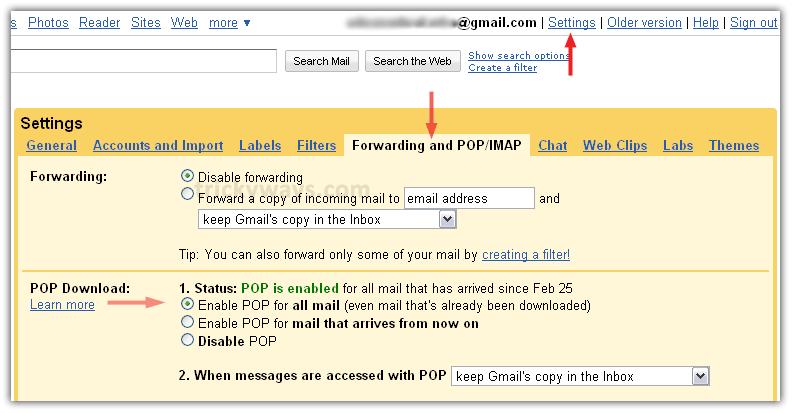 gmail pop settings outlook 2010