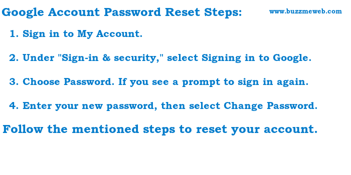 How can i reset my password for google account